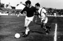 John Lambie in action for St Johnstone against Drew Jarvie of Airdrie at Broomfield Park in 1970.