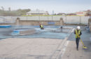 Preparing for a splash....Arbroath paddling pool gets a makeover for the summer as the old 'slippery' painted surface is sandblasted away..... Pic Paul Reid