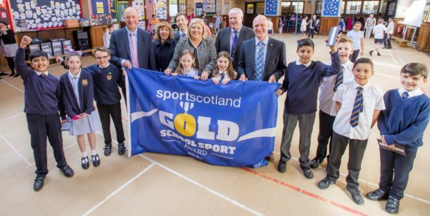 Pictured with children from Clepington Primary in picture number are, Stewart Harris sportscotland Chief Executive, Elaine Zwirlein Executive Director of Neighbourhood Services at Dundee City Council, Councillor John Alexander, Paula Cheghall Clepington Primary Head Teacher, Paul Clancy Executive Director of Children and Family Service at Dundee City Council and Joe FitzPatrick Minister for Parliamentary Business.