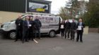 BBP relaunch with Sgt Kevin Johnstone, Cllr Peter Barrett, PC John Morrison, Craig Robertson of Instant Image, Angie Menzies from PKC, David & John Hair, J&D Hair Electrical Contractors and Niall Smith from PKC