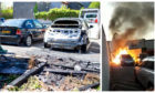 The cars during and after the blaze in Glenrothes.