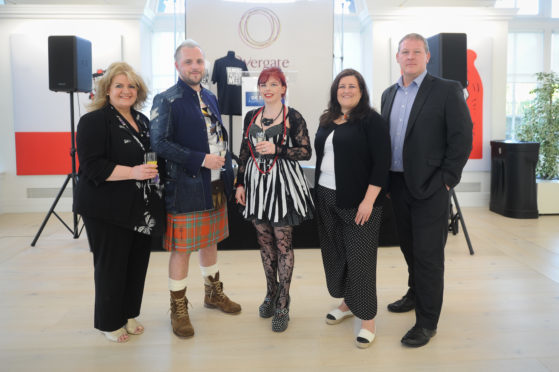 Sandra Burke, David Alexander, Genna Delaney, Councillor Lynne Short and Malcolm Angus (Overgate) at the DC Thomson Meadowside Dundee Fashion Week launch party