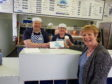 Stewart Atkinson and Gwen Roberts from North Street Chippie and Councillor Lynne Devine
