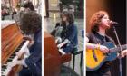 Kyle Falconer sings Don't Look Back in Anger at Edinburgh Waverley