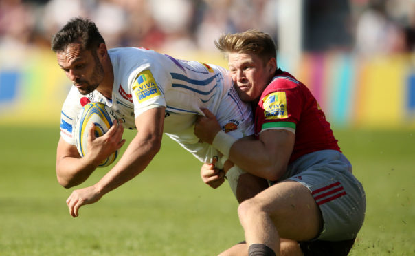 New Scotland call-up James Lang  Makes a tackle playing for Harlequins against Exeter at the weekend.