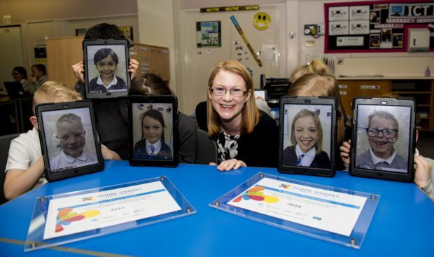 Shirley Anne Somerville at Tullialllan Primary School.