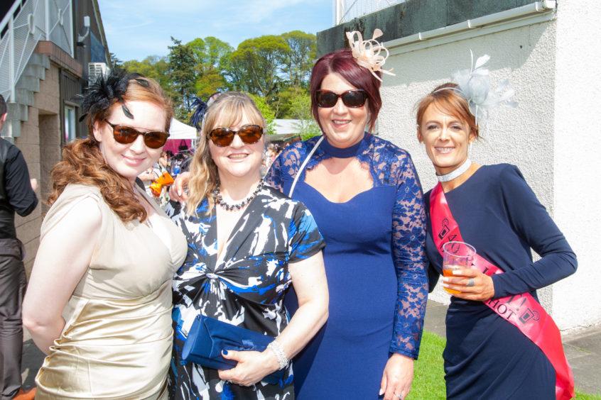 Lynsey Winchester, Moira Binnie, Pam Whyte and birthday girl Carrie Welch (all Cornhill Macmillan Nurses).