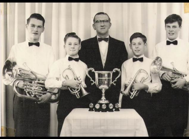 The Tullis Quartet Scottish Champions 1963 Left to right Ian Green, Davie Walker, Geordie Baxter (conductor), John Wallace, Frankie Page
