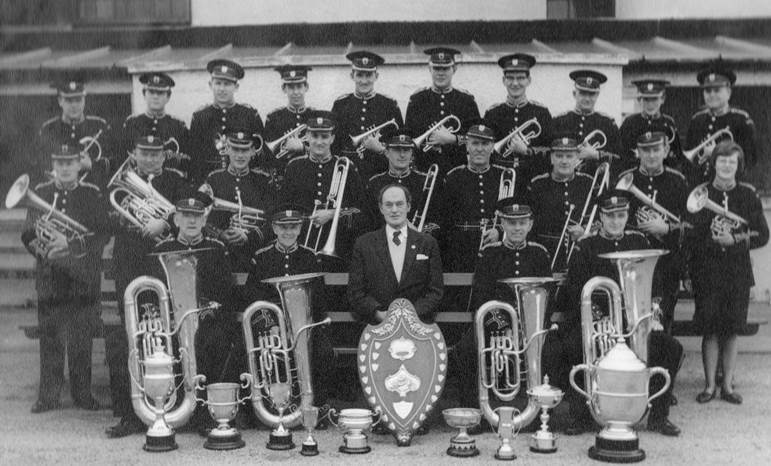 Tullis Band 1964 with conductor Drake Rimmer (JW back row, fourth from left)