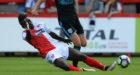 Elton Ngwatala making a tackle for Kidderminster.