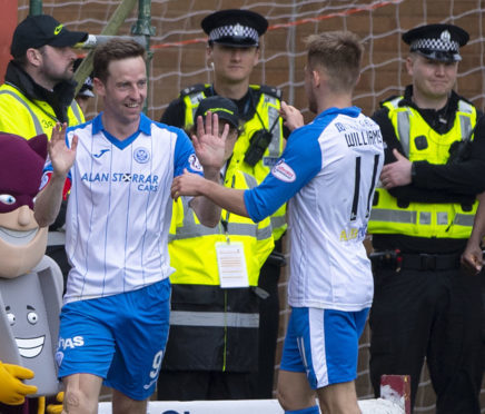 Steven MacLean celebrates his second of the afternoon.
