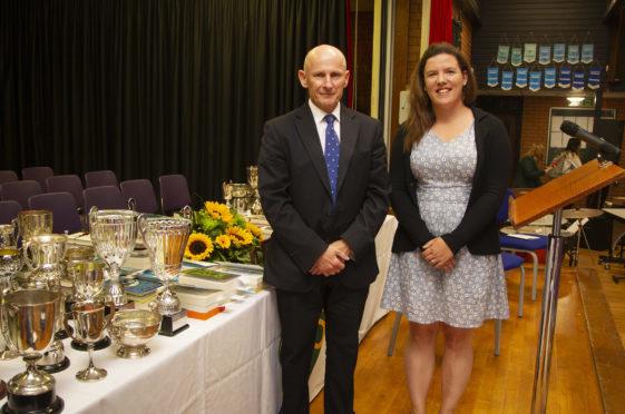 Head Teacher Bruce Pandrich with guest speaker, former pupil Dr Kate Winter.