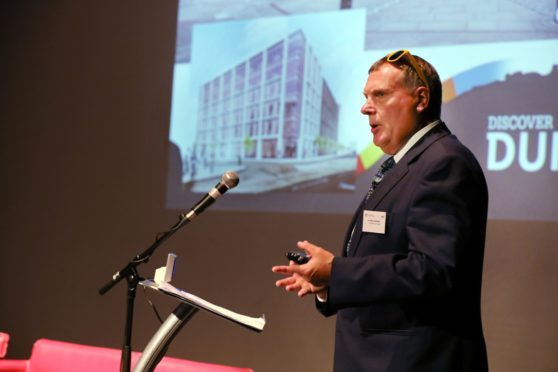 Mike Galloway leads a discussion on the Waterfront development during Wednesday's Dundee Economic Summit.