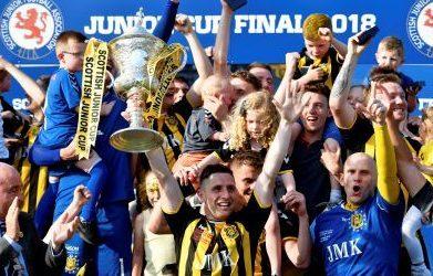Auchinleck Talbot lift the Scottish Junior Cup last month.