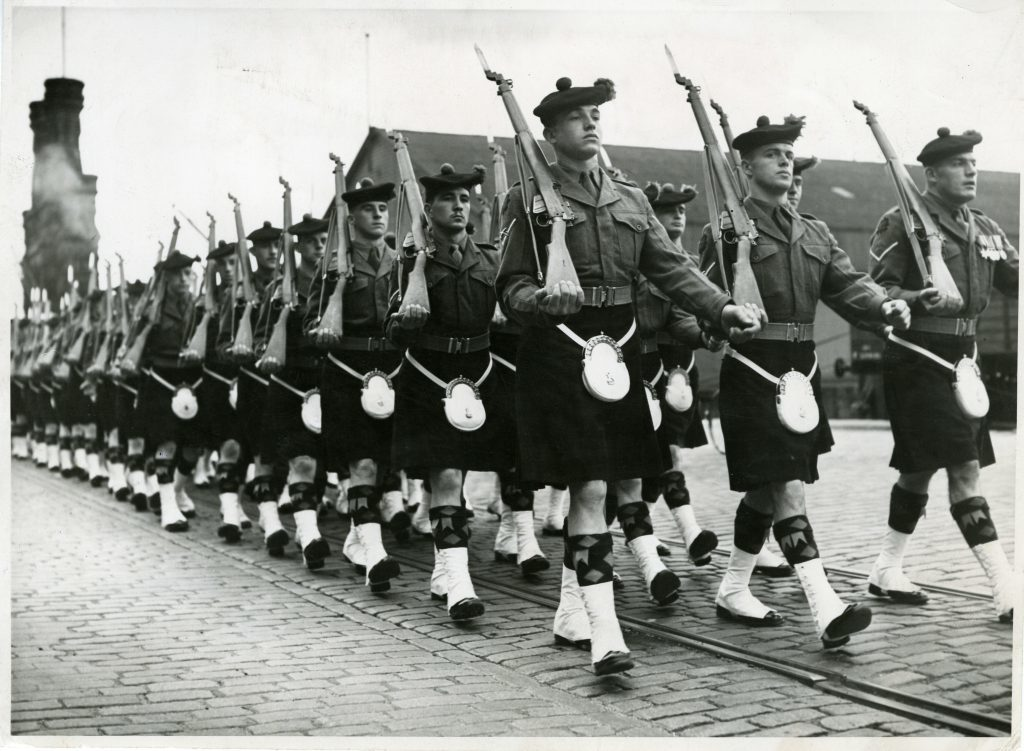 A Black Watch march taking place in Dundee. September 23 1954.