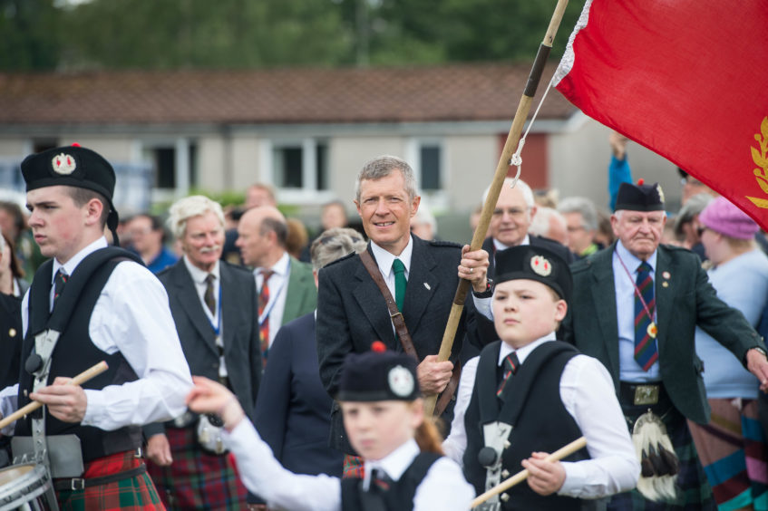 Scottish Lib Dem leader Willie Rennie MSP was the Chieftain for the 2018 games, held at Duffus Park.