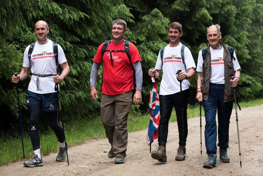 Dominic Wedderburn, - Soldiers' Charity ambassador, Les Binns, Patrick Wedderburn and oldest participant Andrew Wedderburn.