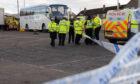 Police investigators cordon off the scene of the accident in February 2017.