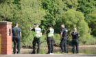 Police at the scene of the River Tay rescue.