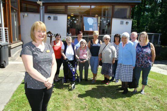 Manager Kathleen  Fotheringham with staff Fiona Clark, Lesley Cameron, Lesley Drew, Karen Kelly, Stephen Porter, Yvonne Watt and some service users
