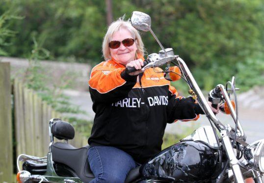 Nicky on the Harley Davidson at Netherton Cottage