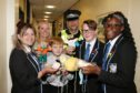 Rebecca Makepeace, a school support specialist from Duncan of Jordanstone with PC Andy Kerr with pupils Anna Rae, Will Plenderleaph, Ben Ramsay and Emmanuella Damptey.