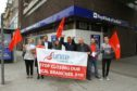 Unite union and Labour campaigners protested against the RBS closure.