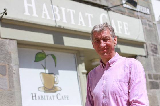 Councillor Mike Williamson outside Habitat Cafe Aberfeldy.