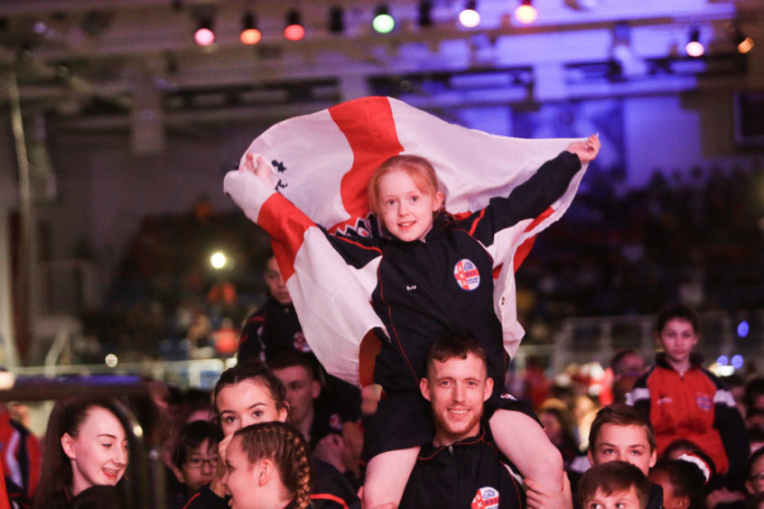 English athletes in the crowd