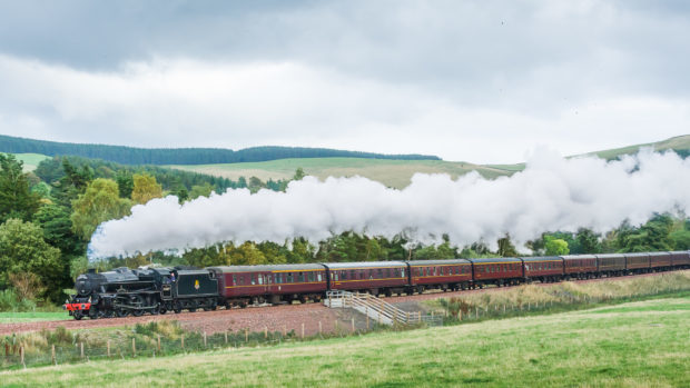 A Black Five Steam Train, The Lancashire Fusilier, travelling along the Borders Railway.