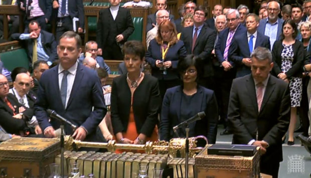MPs line up to announce the result of the vote in the House of Commons, London during the debate for the EU (Withdrawal) Bill.