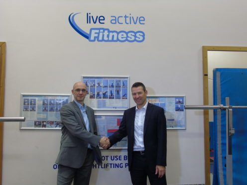 Paul Cromwell (left) chief executive of Live Active Leisure, with Andy Ritchie, treasurer of Perthshire Rugby Club.
