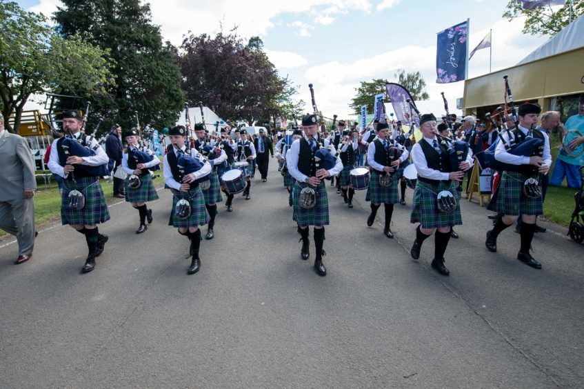 Pipers at the show on Thursday.