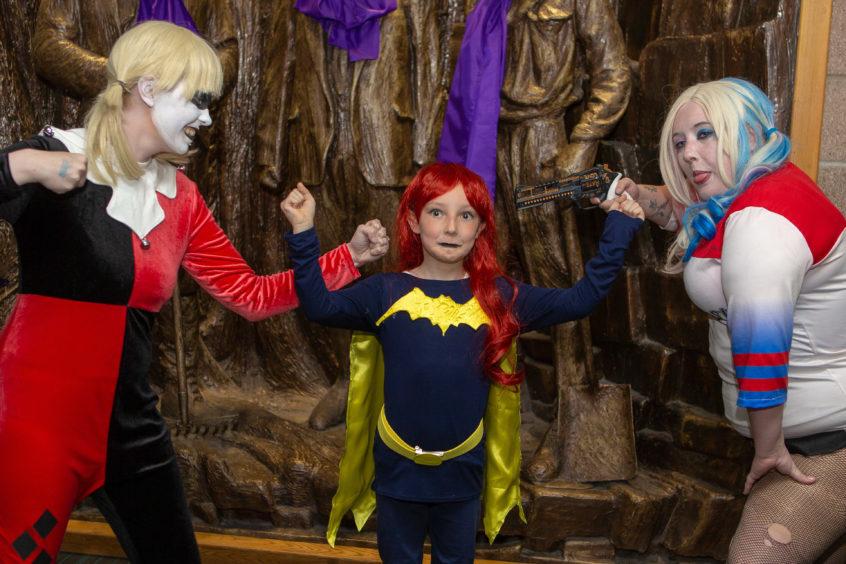 Toni McIntosh, Sakura Bryant and Kerry-Ann Bryant as Harley Quinn, Bat Girl and Harley Quinn