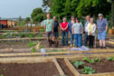 Members of Silverburn Allotment Society in their new plots with Peter Duncan from Fife Council. (Left) Martin Watson & dog Tess, Alistair & Shiela Simpson, Diana Wemyss, Karen Guthrie, Peter Duncan and Gill & Davie Swan