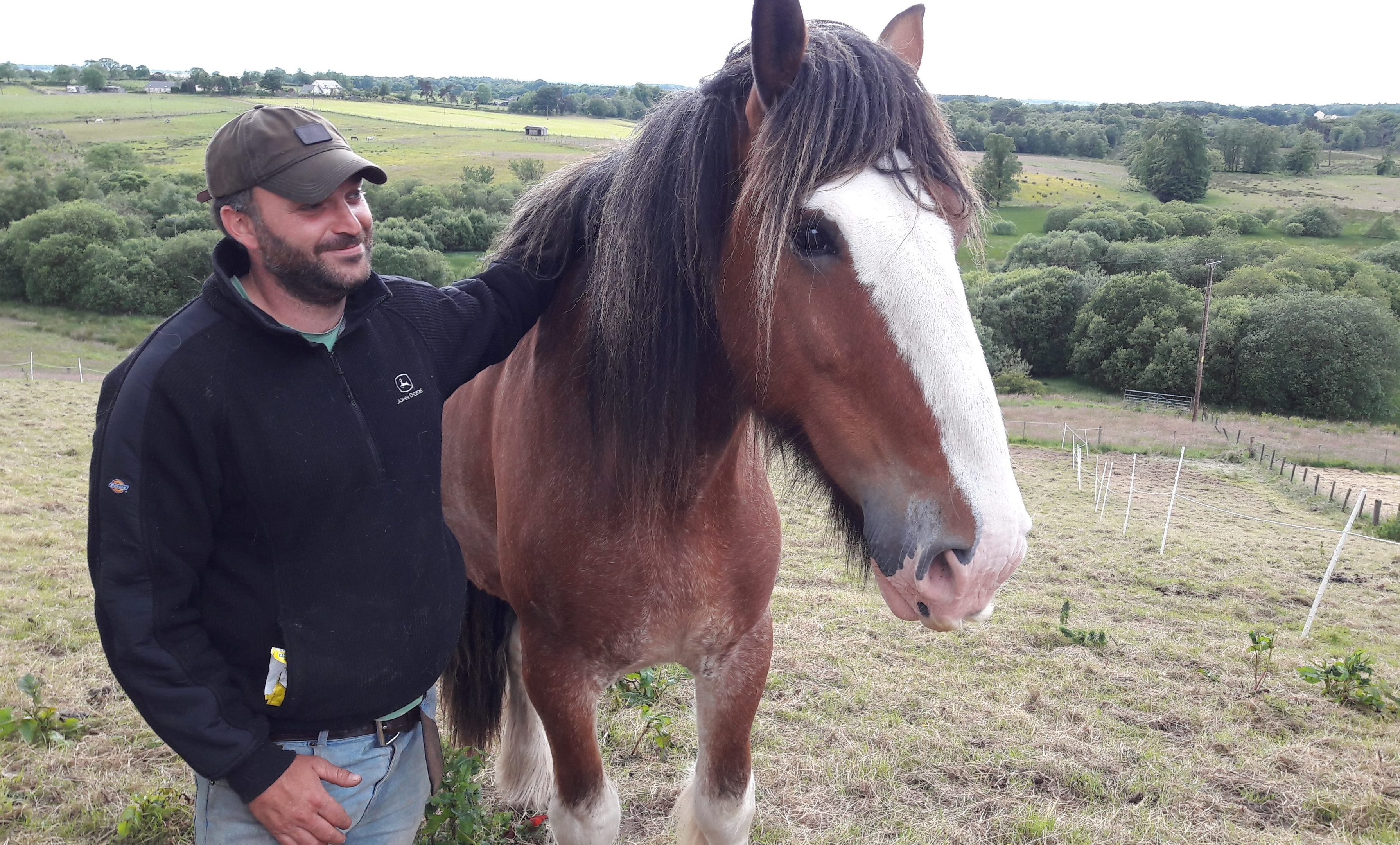 Tam Carroll  with 'Ollie' - the horse that 'saved his life'