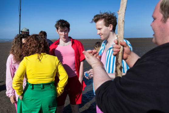 Performers on the mudflats at Tentsmuir durinf filming of Futureproof