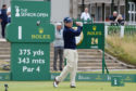 Tom Watson hits from the first in practice for the Senior Open at St Andrews.