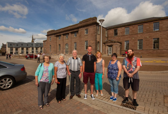 Former Forfar Academy pupils Edna Glennie, Mary and Leslie Craib, former Chapelpark primary teacher Bruce Ollerenshaw, Tammy Tait and former Chapelpark pupils Karen and her son Matthew Kelly at the open day.