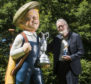 Peter Davidson with the 7 foot tall sculpture of Our Wullie and the maquette it was made from.
