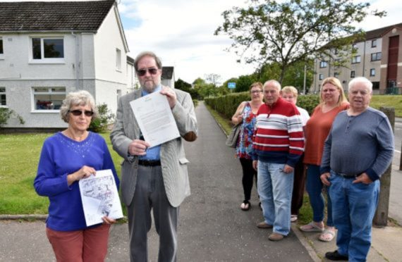 Residents held a meeting with Angus Councillor Richard Moore (second left)