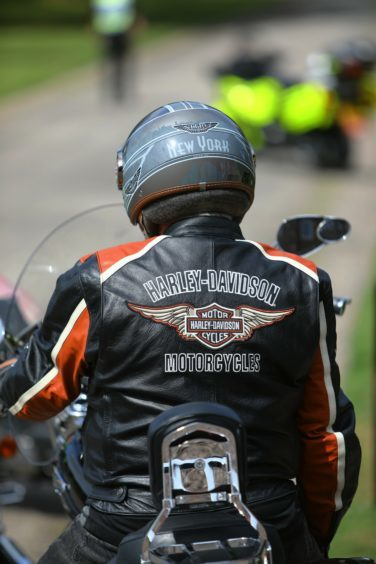 One of the riders suitably dressed, before the Thunder Run sets off from Brechin Castle on Saturday.