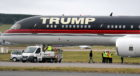Donald Trump's private jet at Aberdeen Airport.