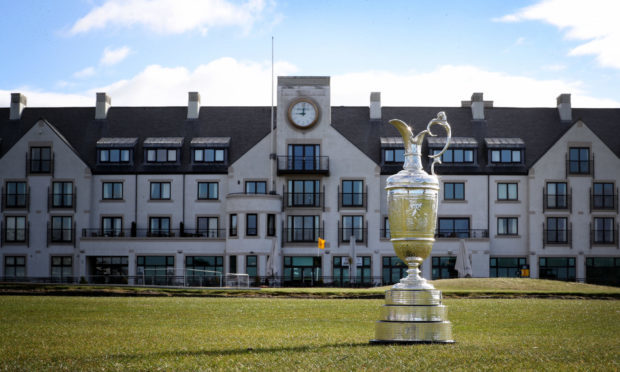 The Claret Jug in front of the club house ahead of The Open Championship.
