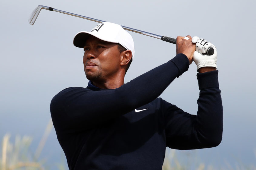 USA's Tiger Woods on the 6th tee during preview day three of The Open Championship 2018.