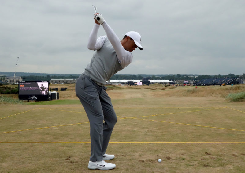 Tiger Woods plays Carnoustie practice round ahead of The Open