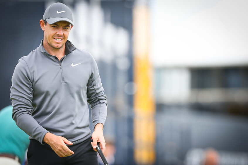Rory McIlroy on the first day of practice at Carnoustie. Picture: Kris Miller.