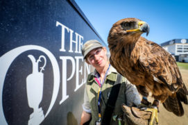 Rebecca McDougall with Fearnley the Tawny Eagle, both from Elite Falconry.