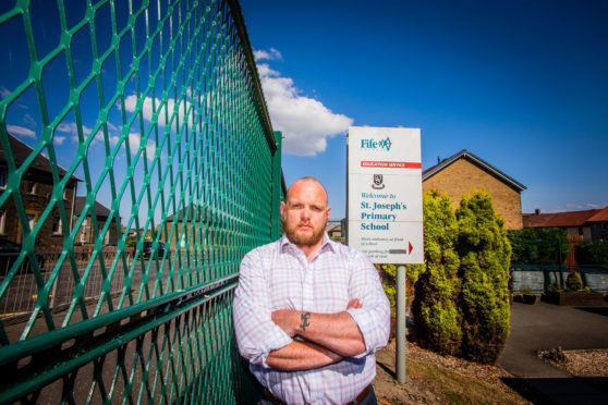 Councillor Darren Watt at the school - St Joseph's Primary.