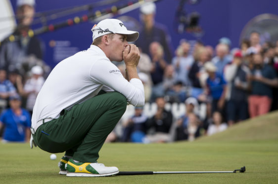 Brandon Stone can;t believe his putt for a 59 in the final round of the Scottish Open has missed.